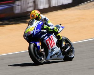 Rossi going around the track