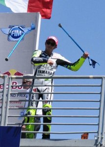 Rossi finished third after breaking his leg four weeks earlier, and he is still moving around on crutches