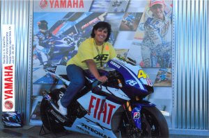 Me sitting on Rossi's bike.