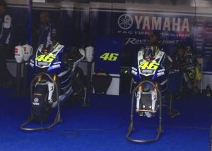 The front of Rossi's garage.  Rossi is on the far right