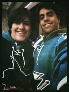 Me and Nick waiting outside the Sharks Tank before game time