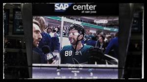 Burnzie being interviewed by Brodie Brazil because of his hat trick