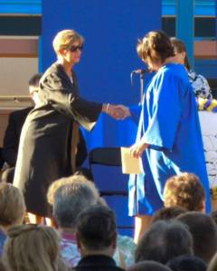 Shaking hands with the School Principal, Pat Avila